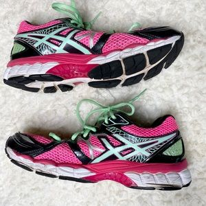 ASICS Pink Grn Athletic Walking Running Shies 10.5